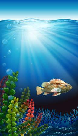 A fish under the sea Illustration