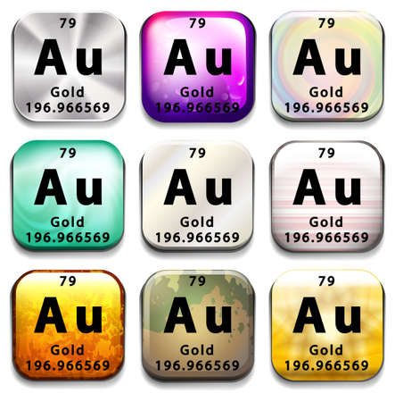 chemical element: A button showing the element Gold on a white background Illustration