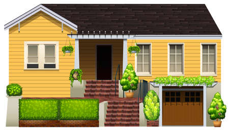A big yellow house on a white background Vector
