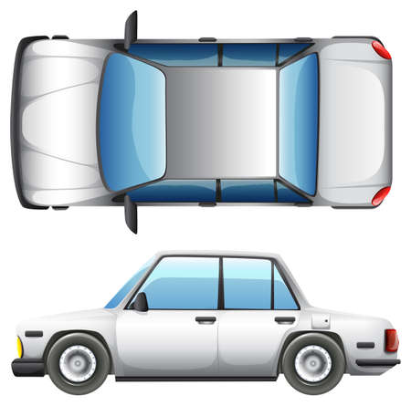 car tire: A top and side view of a car on a white background