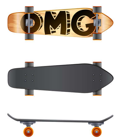 labelled: A skateboard with an OMG label on a white background