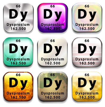 A button showing the element Dysprosium on a white background Ilustrace