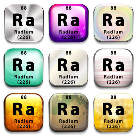 A button showing the element Radium on a white background