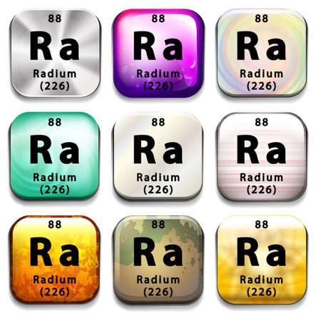 tabellare: Un pulsante che mostra l'elemento di Radium su uno sfondo bianco