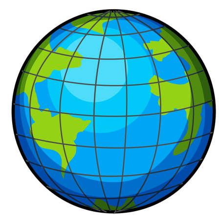 globe terrestre dessin: Un grand globe sur un fond blanc