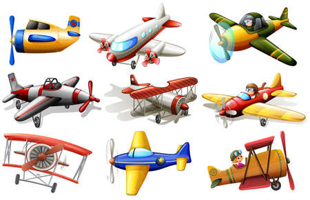A group of planes on a white background Vector