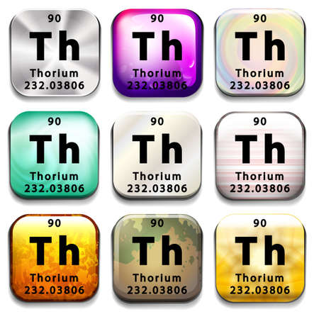 A button showing the element Thorium on a white background Ilustrace