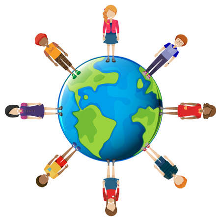 sphere standing: Network of people around the globe on a white background Illustration