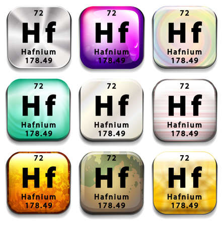 chemical element: A button showing the element Hafnium on a white background Illustration