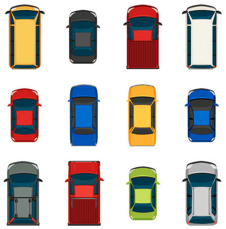 A topview of the set of vehicles on a white background