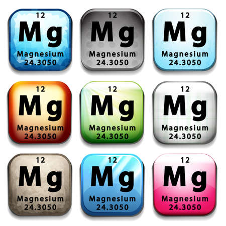 A button showing the element Magnesium on a white background