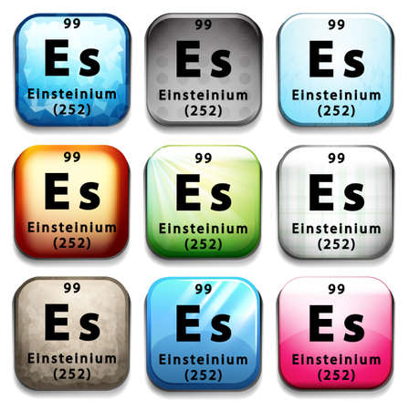 99: A button showing the element Einsteinium on a white background Illustration