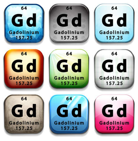 tabular: A button showing the element Gadolinium on a white background Illustration