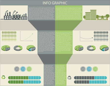 concise: A colourful infographic of humans and the environment Illustration