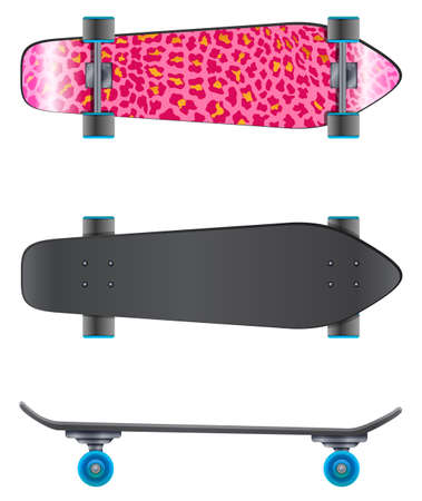 rollers: A pink coloured skateboard on a white background