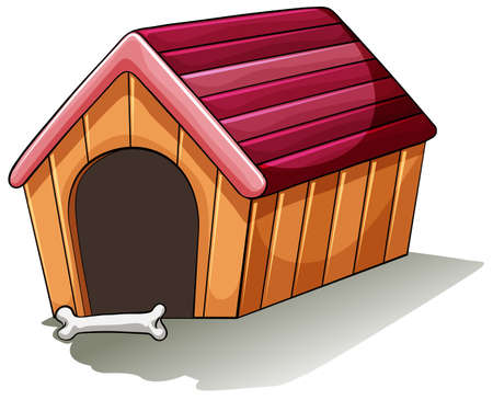 doghouse: A wooden doghouse on a white background Illustration