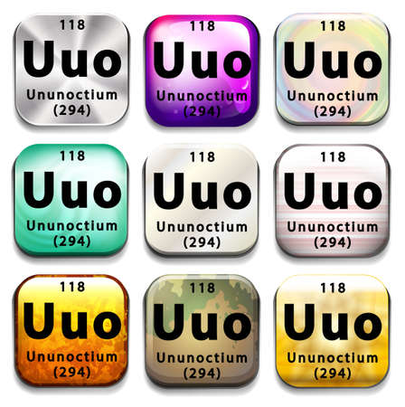subatomic: A button showing the element Ununoctium on a white background