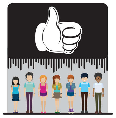 approved sign: A group of faceless people with an approved sign on a white background Illustration