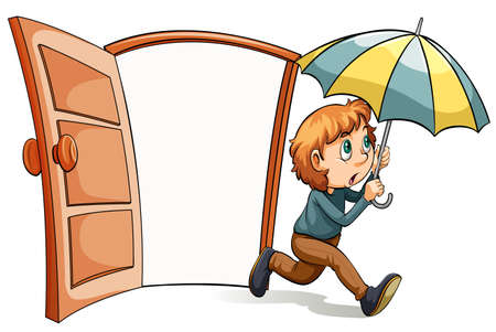 handheld device: A boy with an umbrella on a white background