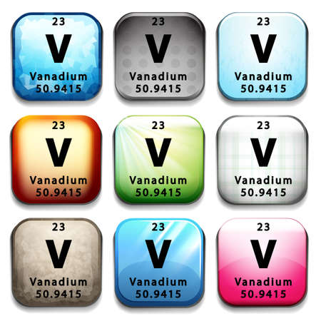 A button showing the element Vanadium on a white background