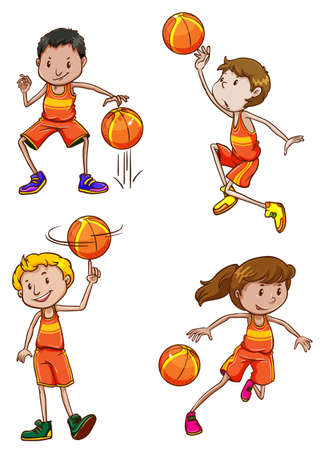 contingent: Young basketball players on a white background Illustration