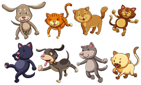 group of pets: A group of playful cats and dogs on a white background Illustration