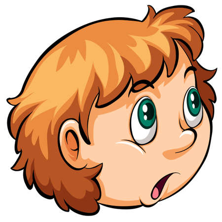 shocking face: A head of a girl on a white background Illustration
