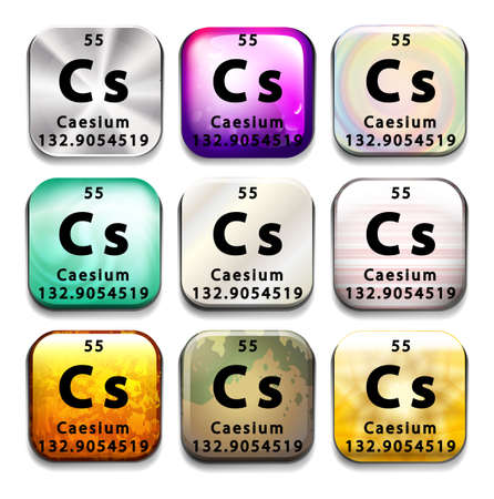 cs: A button showing the element Caesium on a white background