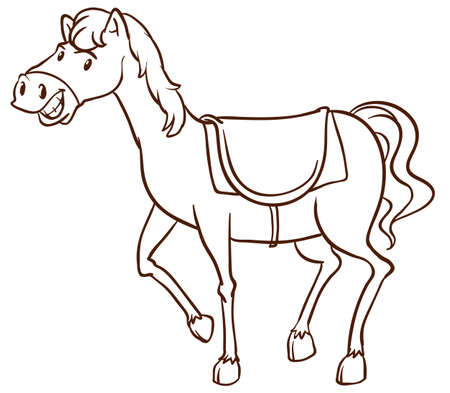 response: A simple drawing of a horse on a white background