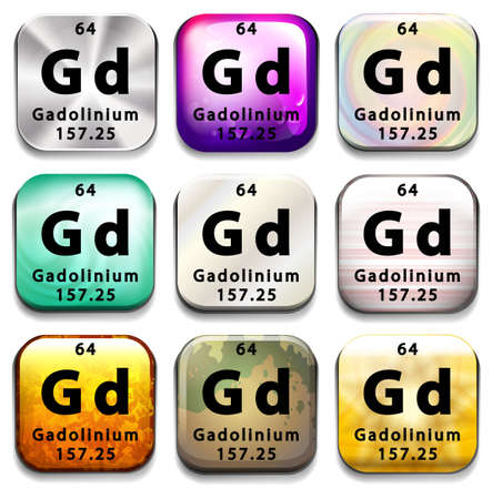 A button showing the element Gadolinium on a white background Vector