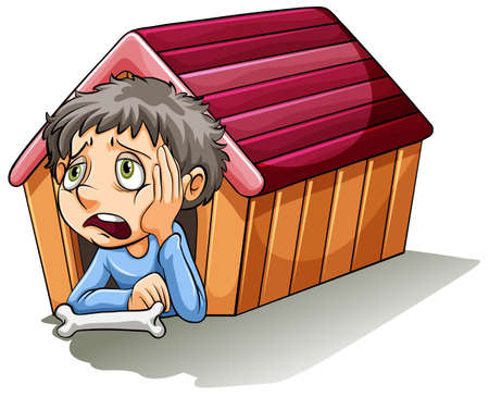 hand on chin: A boy inside the doghouse on a white background Illustration