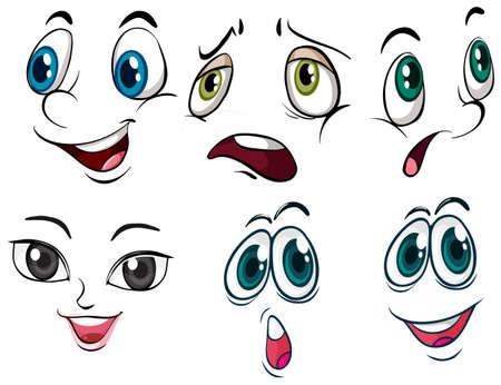 ojos tristes: Diversas expresiones faciales en un fondo blanco