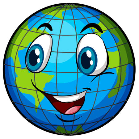 globe terrestre dessin: Une image comique de la Terre avec un visage sur un fond blanc Illustration