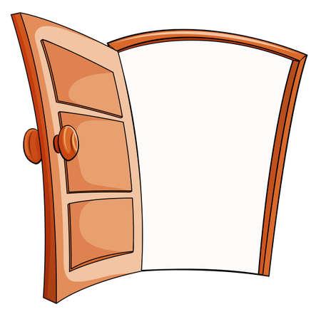 Une porte ouverte sur un fond blanc Vecteurs