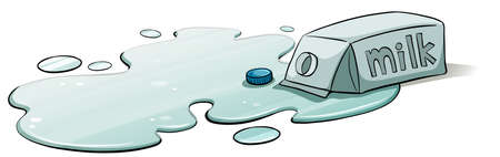 cold storage: A spilt milk on a white background Illustration
