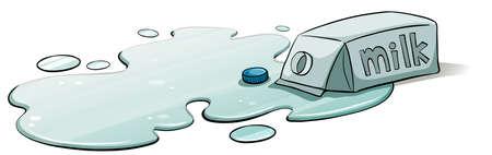 spilt: A spilt milk on a white background Illustration