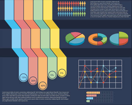 concise: An infographics showing a pie and a linear graph Illustration
