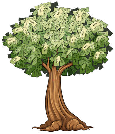 money: A money tree on a white background