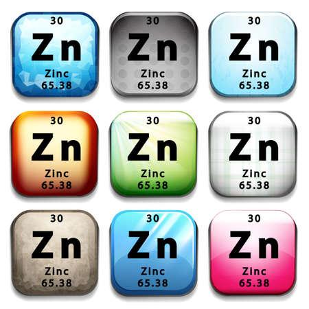 subatomic: An icon showing the element Zinc on a white background Illustration