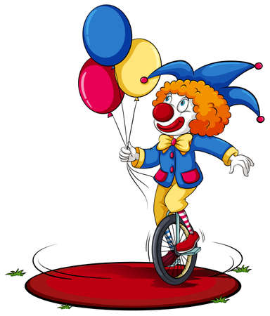 A clown running around in circle on a white background 일러스트