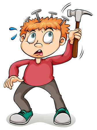 idioms: A young boy hammering his head on a white background
