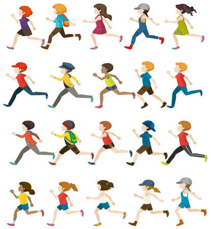faceless: Faceless people running on a white background Illustration