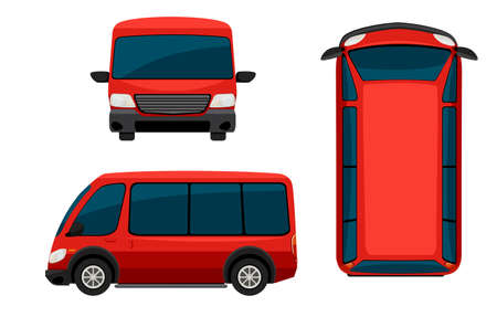 car side view: A red van on a white background