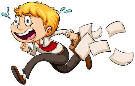 tardiness: A boy in a hurry on a white background Illustration