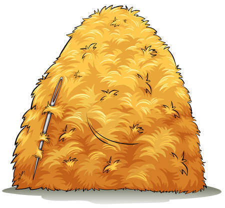 A needle and a pile of hays on a white background Illustration