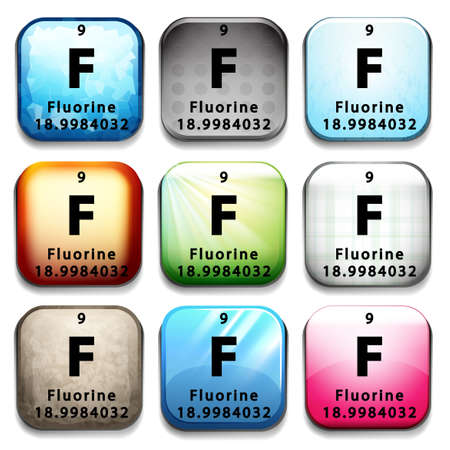 An icon showing the element Flourine on a white background