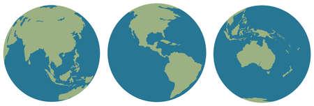 globe terrestre dessin: Trois images de la plan�te Terre sur un fond blanc