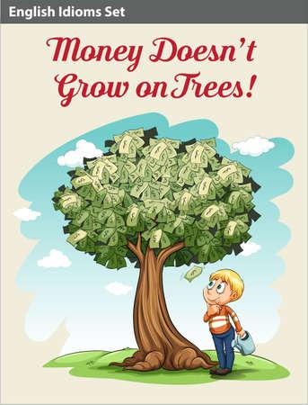 Een jongen onder de geldboom op zoek naar het geld