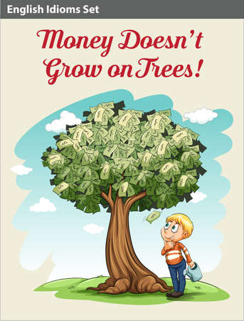 A boy under the money tree looking at the money