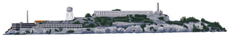 fortification: The Alcatraz Island on a white background Illustration